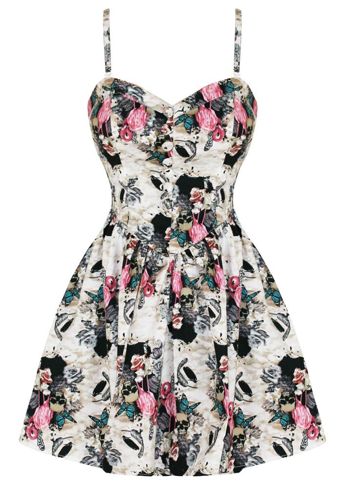 0c818accc40 Details about Hell Bunny poison love floral skull dress S retro ...