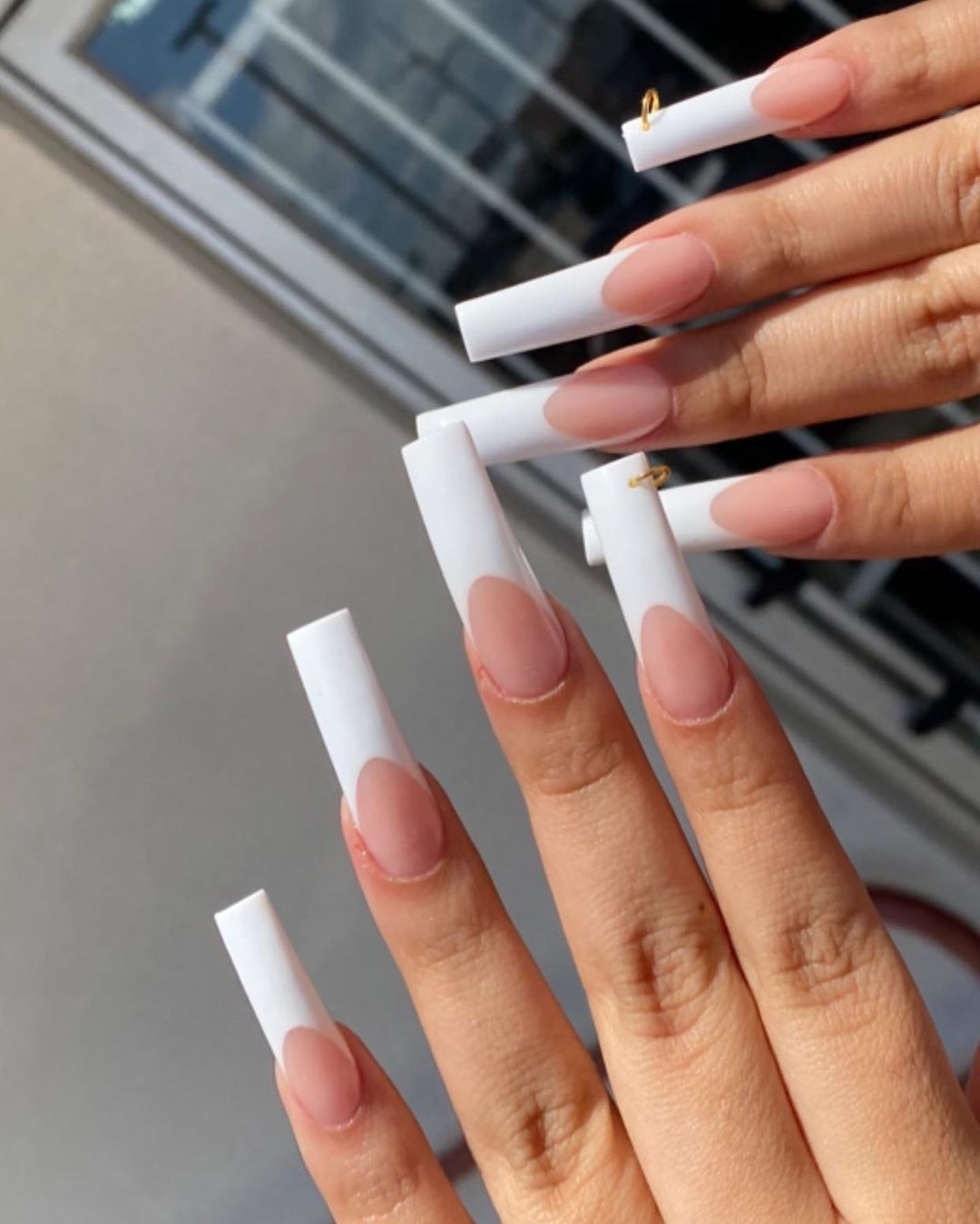 A N G On Instagram Love These Hoops French Tip Acrylic Nails White Tip Acrylic Nails Square Acrylic Nails
