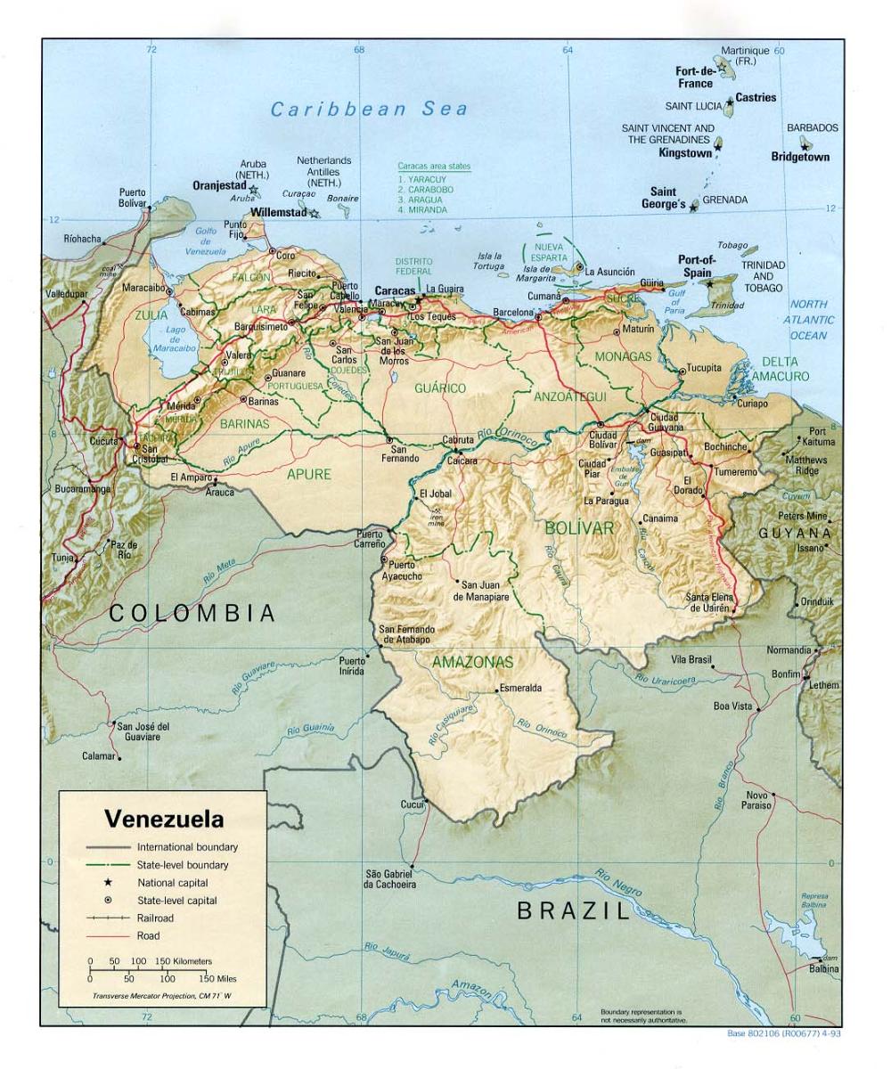 Venezuela Mapas Geográficos De Venezuela Port Of Spain Trinidad Venezuela Relief Map