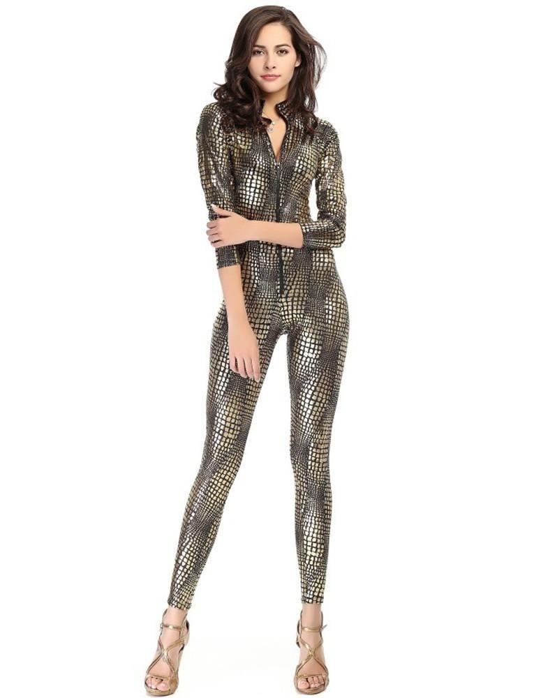SnakeSkin Like Leather Tight Jumpsuit Catsuit Halloween