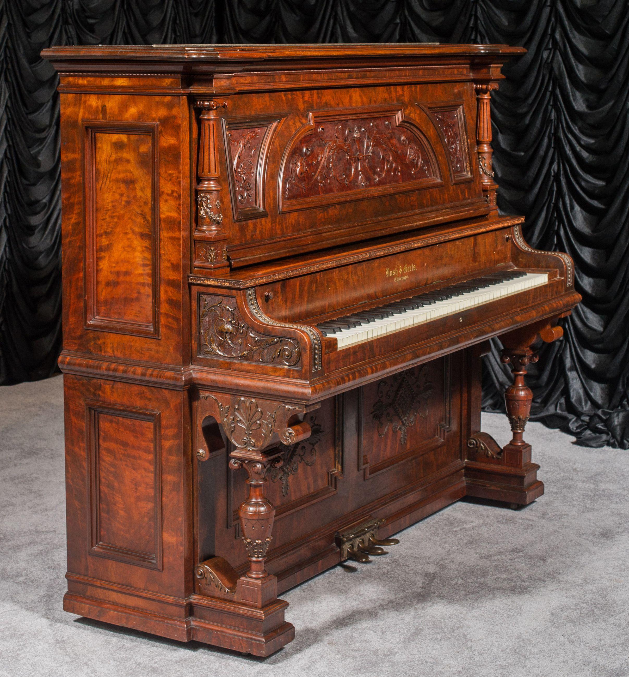 Bush Gerts Victorian Carved Upright Piano Piano Upright Piano
