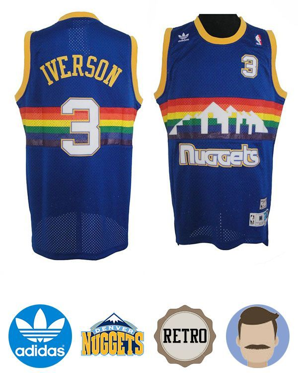 5195df9c9 Rock this Men s Adidas Denver Nuggets  3 Allen Iverson Blue Soul Swingman  Throwback Jersey