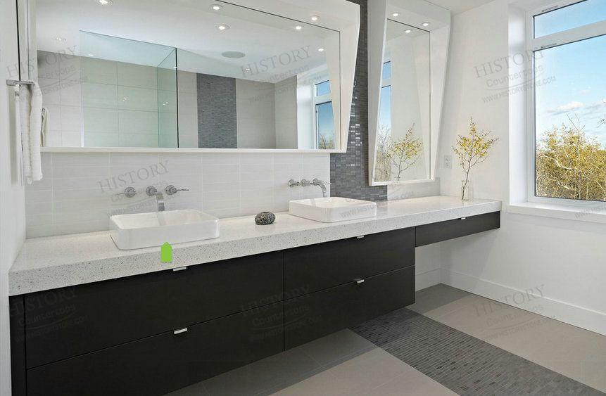 How To Create A Greyscale Bathroom: HQ2008R-Stellar-Snow-Quartz-Countertop-White-Quartz
