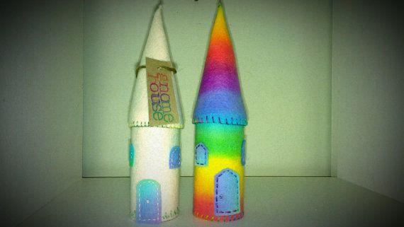 Felt Gnome House Rainbow by madeinrivendell on Etsy, $18.00