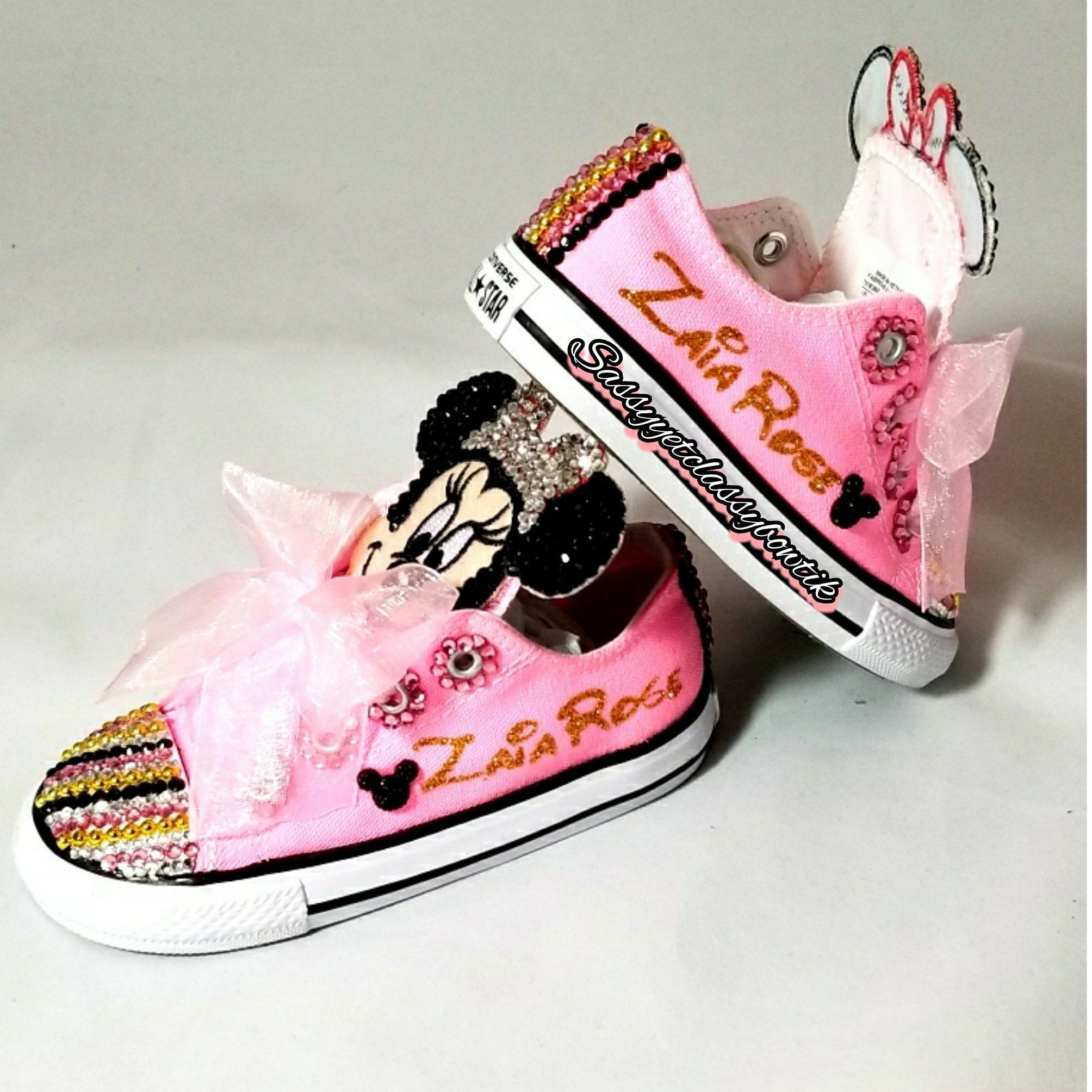 c0af885907df03 Minnie Mouse's custom sneakers Minnie Mouse shoes Bling shoes Birthday  shoes Toddler girls converse Bling converse Bling chucks Personalized shoes  ...