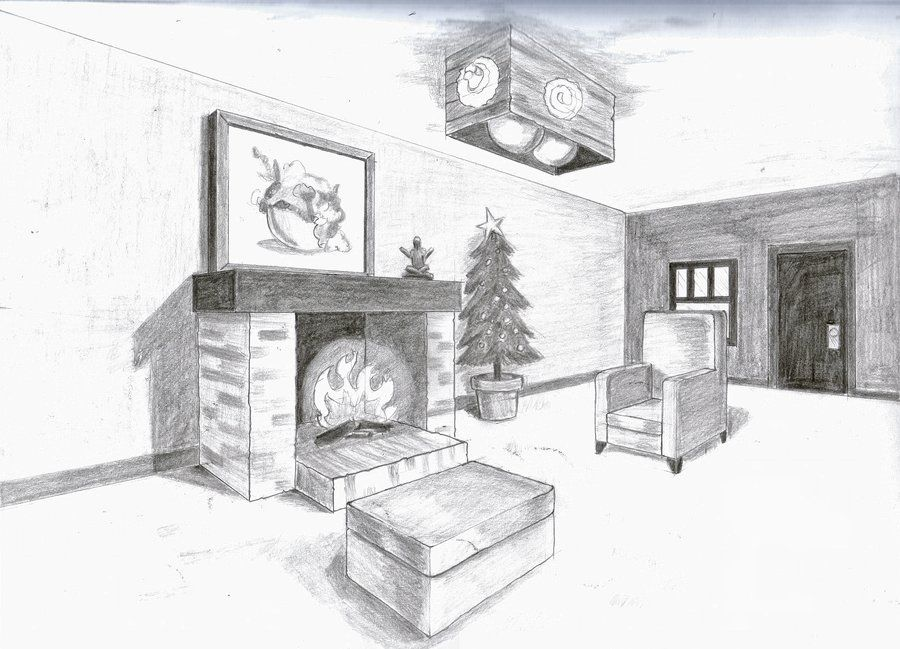 2 point perspective bedroom sketch for Living room 2 point perspective