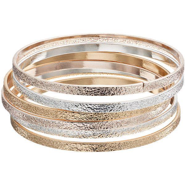 Plus Size Tri Tone Textured Bangle Bracelet Set 36 Brl Liked On Polyvore