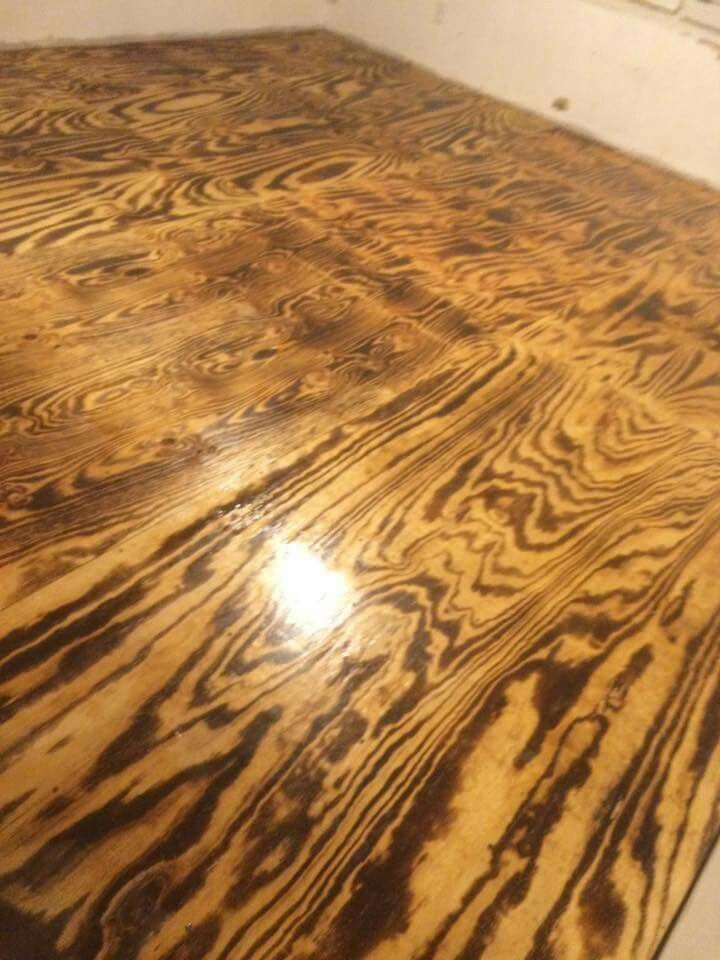 Another Picture Of Our Torched Plywood Flooring