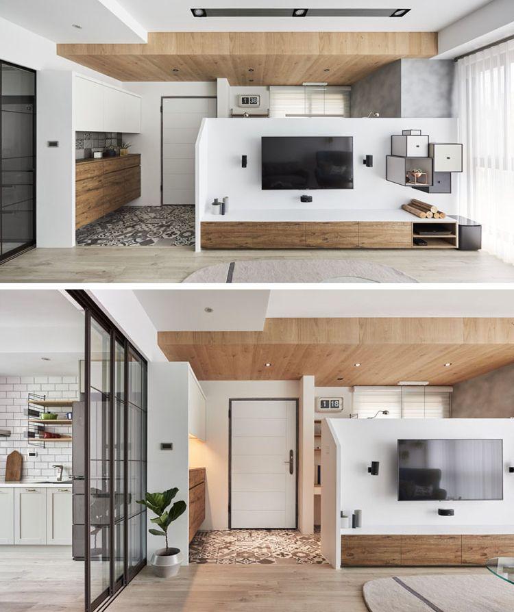 home office einrichten wenig platz wohnzimmer modern weiss holz grau ...