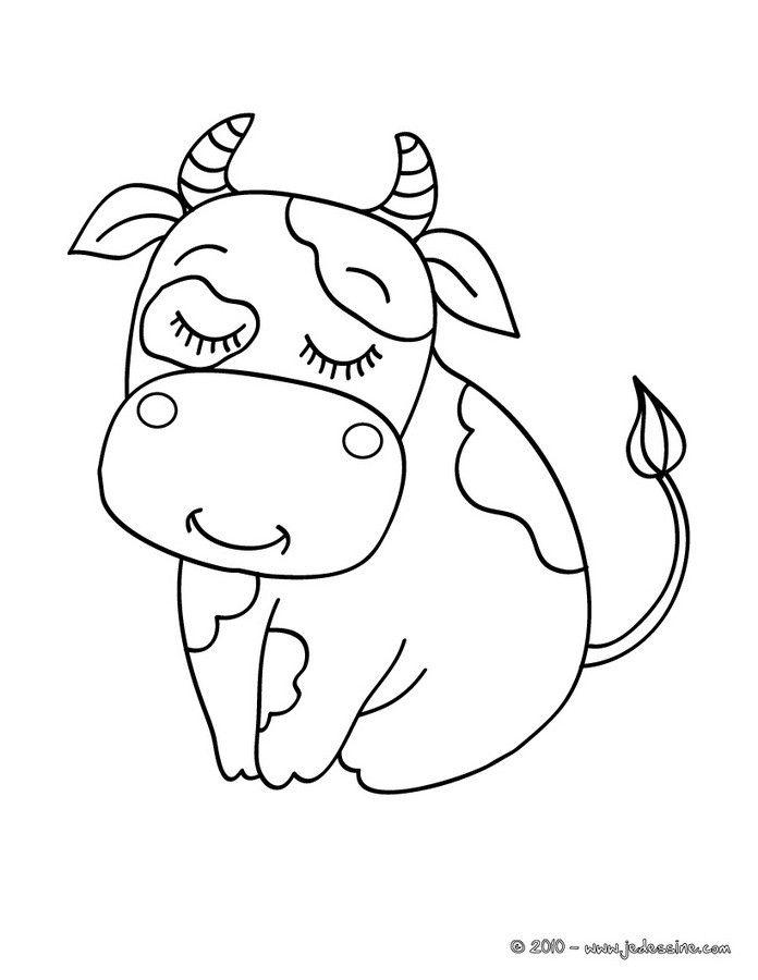 Coloriage d une jolie vache mignonne assise un dessin sur les animaux de la ferme qui plaira - Dessin d une vache ...