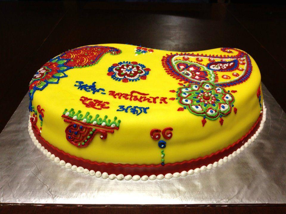 Mehndi Inspired Cake : Gaye holud cake mehendi ideas