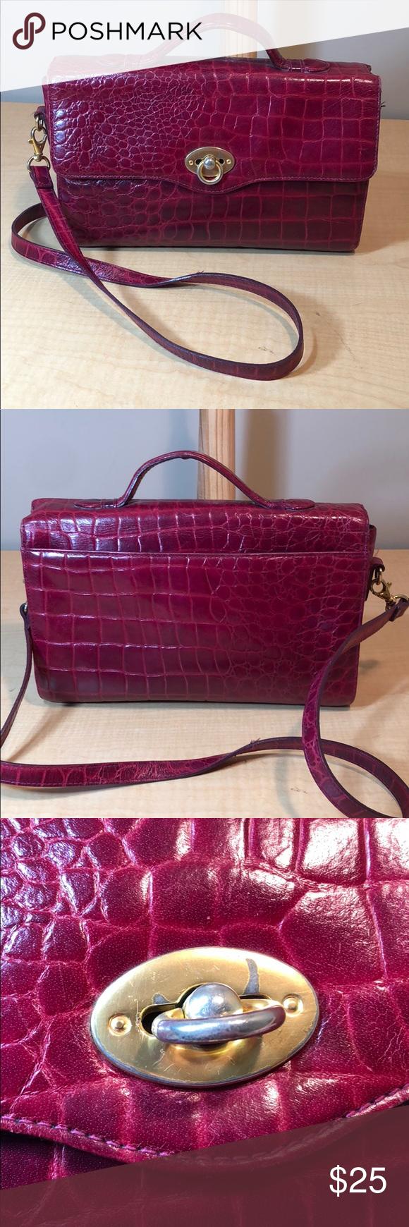 Vintage Liz Claiborne leather croc crossbody purse Excellent used condition. Handles show no wear. E...