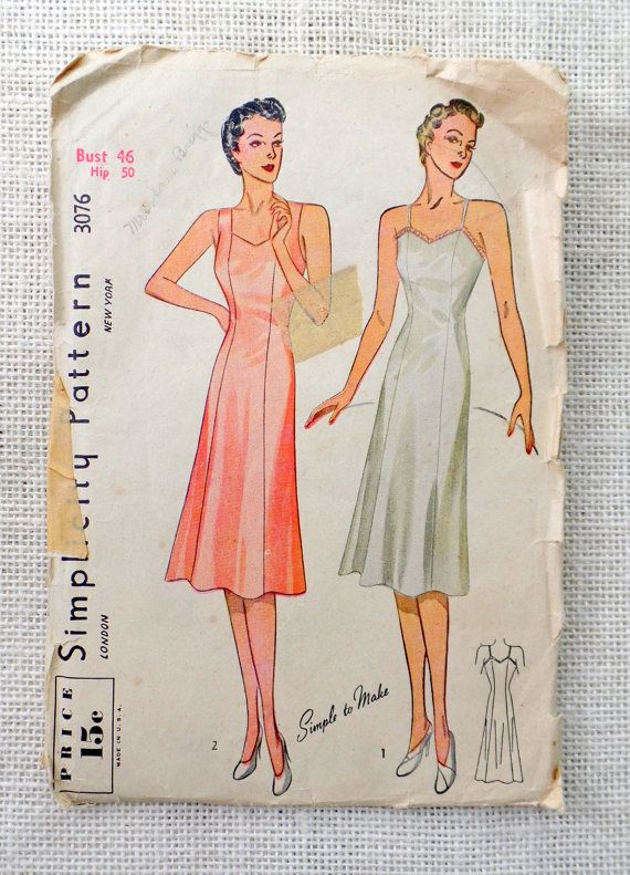 Simplicity 3076 Bust 46 Vintage sewing pattern Plus size slip ...