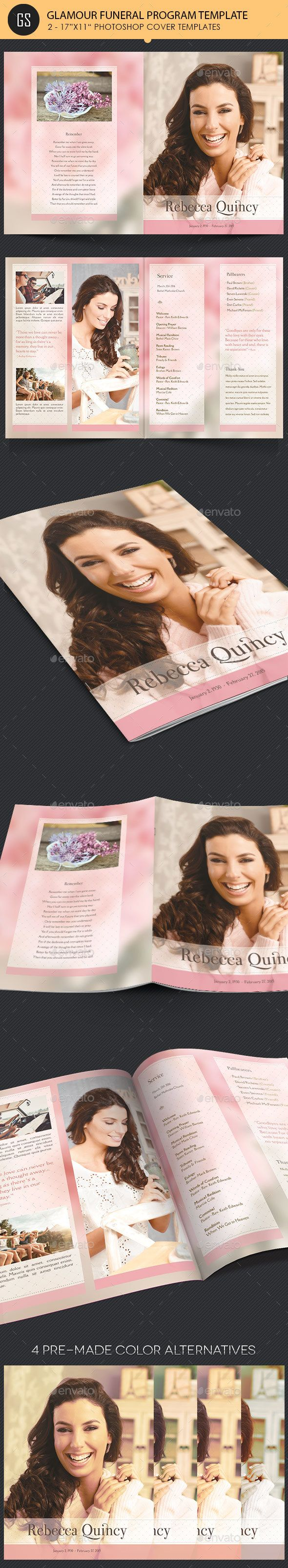 Glamour Funeral Program Large Template  Program Template Funeral