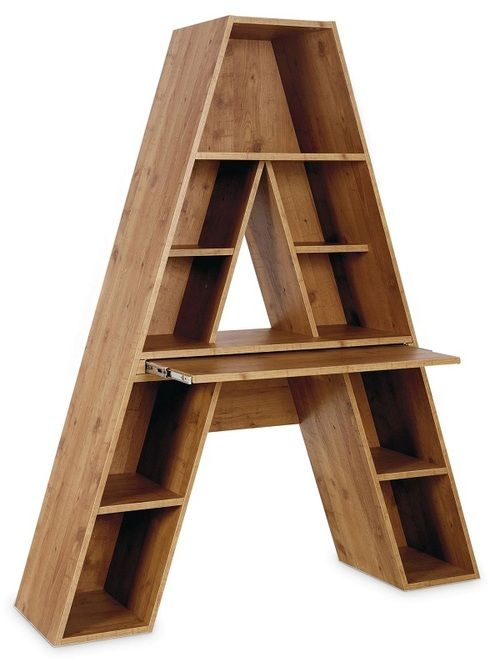 A Shaped Shelves With Pull Out Desk Could Make Letter Of First Name For Kids Room