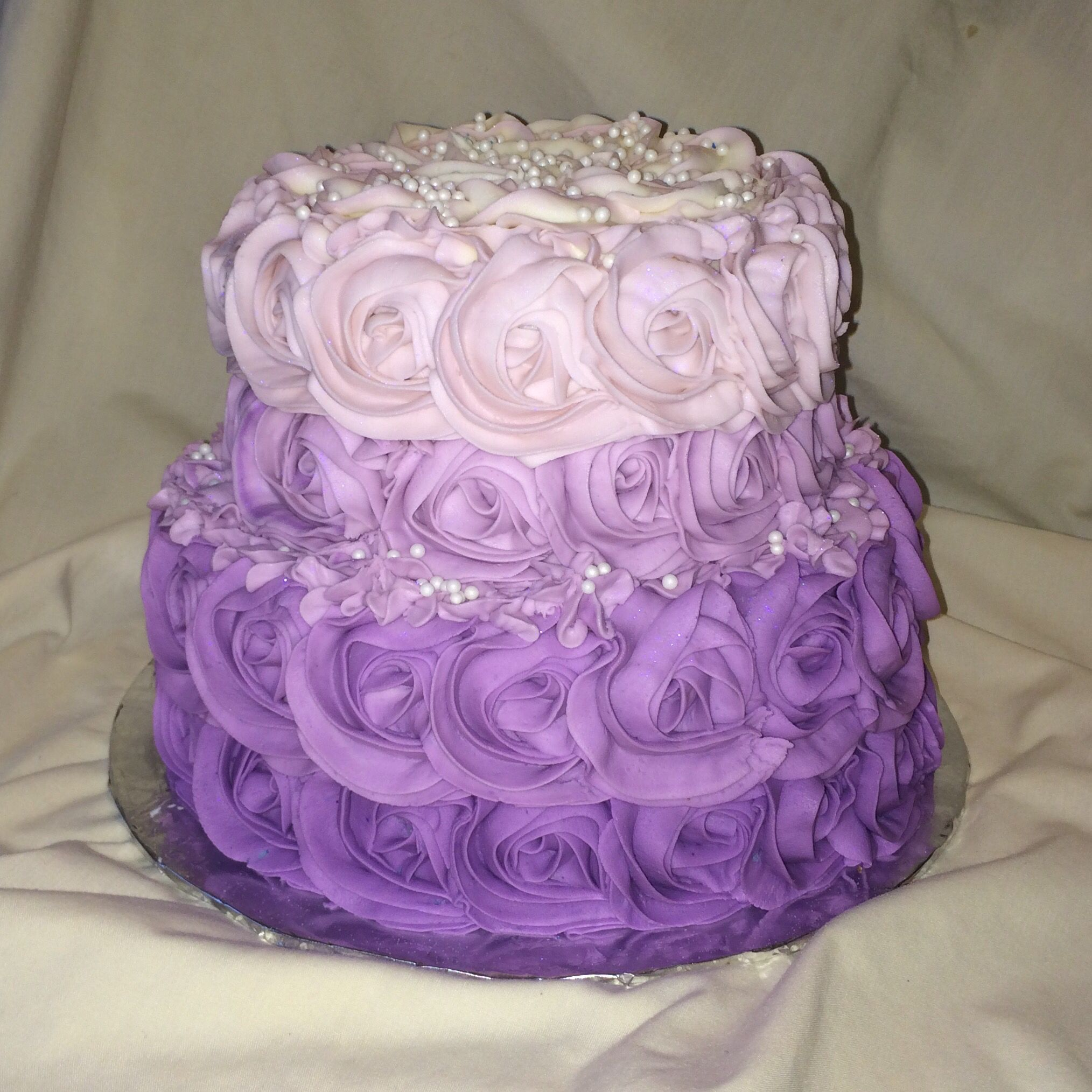 Purple Wedding Cake Ideas: Purple Rosette Birthday Cake By Inphinity Designs