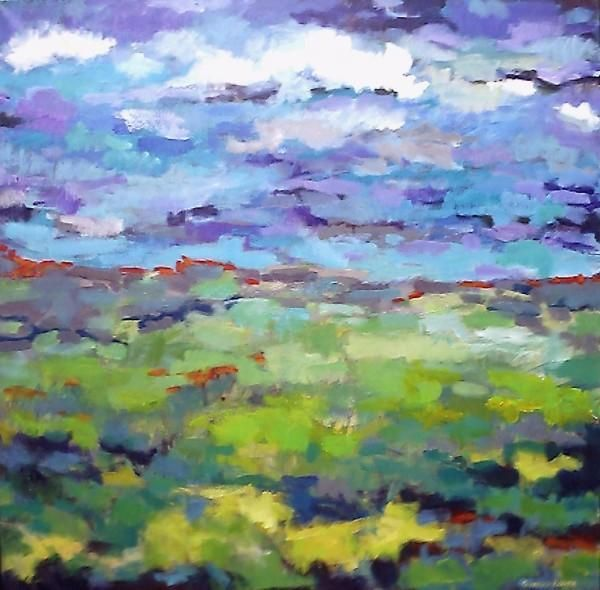 Schilderij  Abstract landschap 6 van Sjoerd van den Boom.