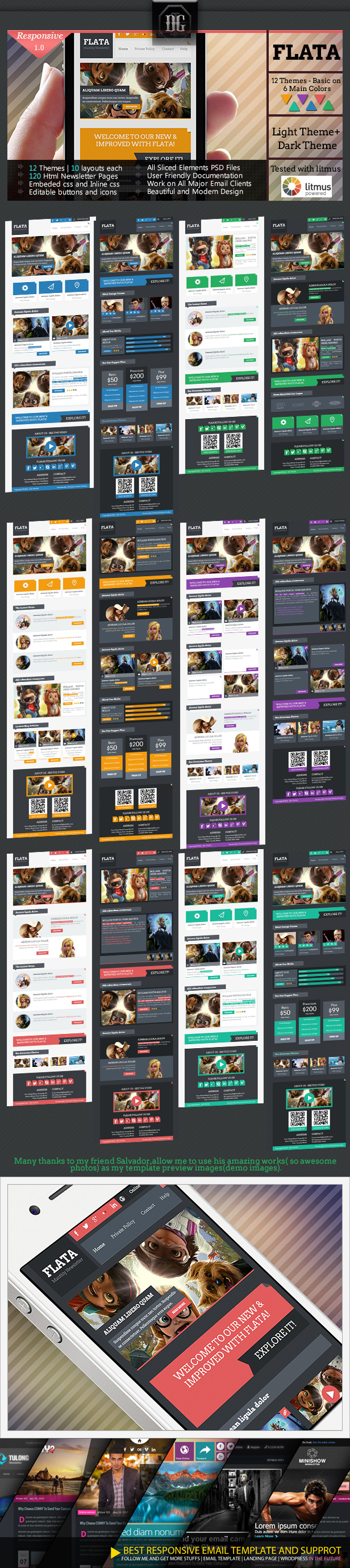 FLATA- Flat Responsive Email With Template Builder | Responsive ...