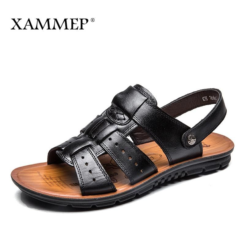 caf86311a02187 Xammep Men Sandals Genuine Split Leather Men Beach Shoes Brand Men Casual Shoes  Men Slippers Sneakers Summer Shoes Flip Flops. Yesterday's price: US $38.00  ...