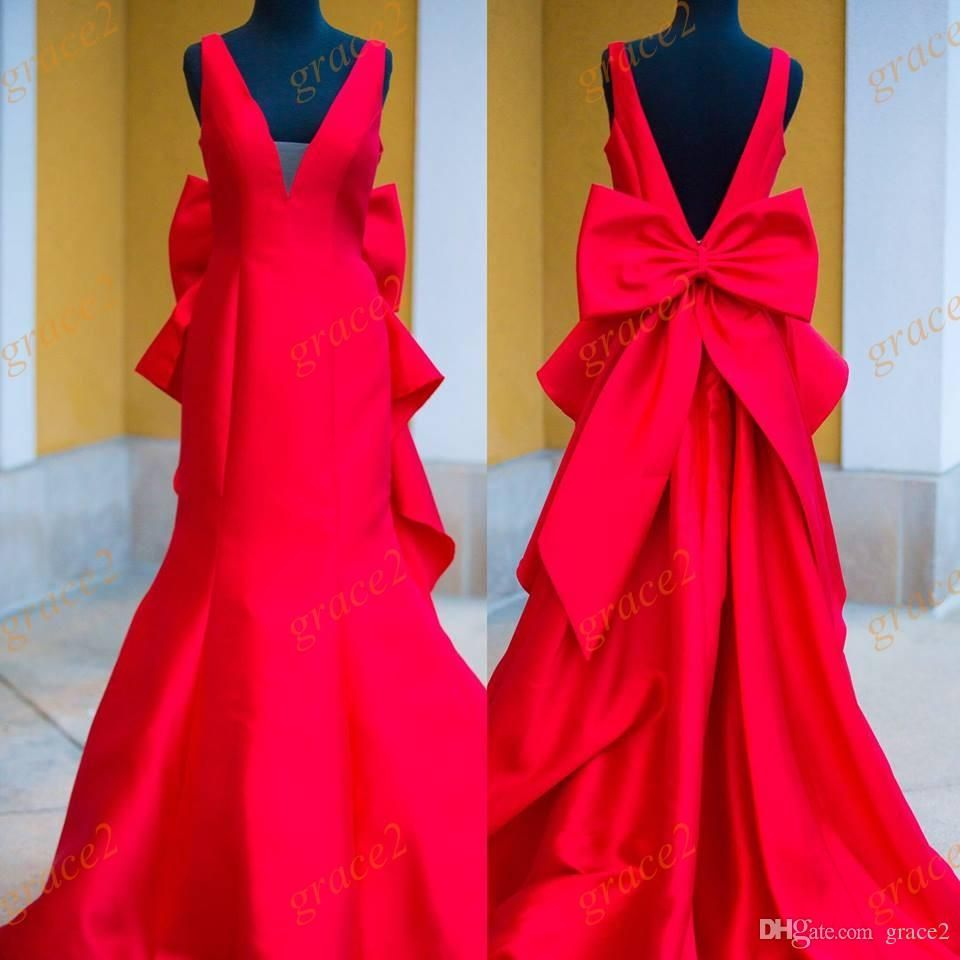 80ba659ee11a Big Bow Prom Dresses 2017 New with Illusion V-Neck And Deep V Back Real  Pictures Mermaid Style Red Satin Pageant Dress Sweep Train 2k17 Prom Dresses  2017 ...