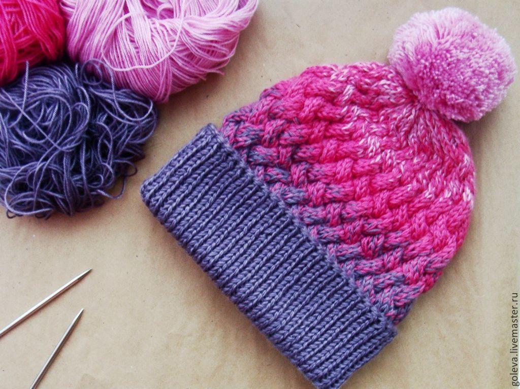купить шапка вязаная спицами с переходом цвета шапка спицами