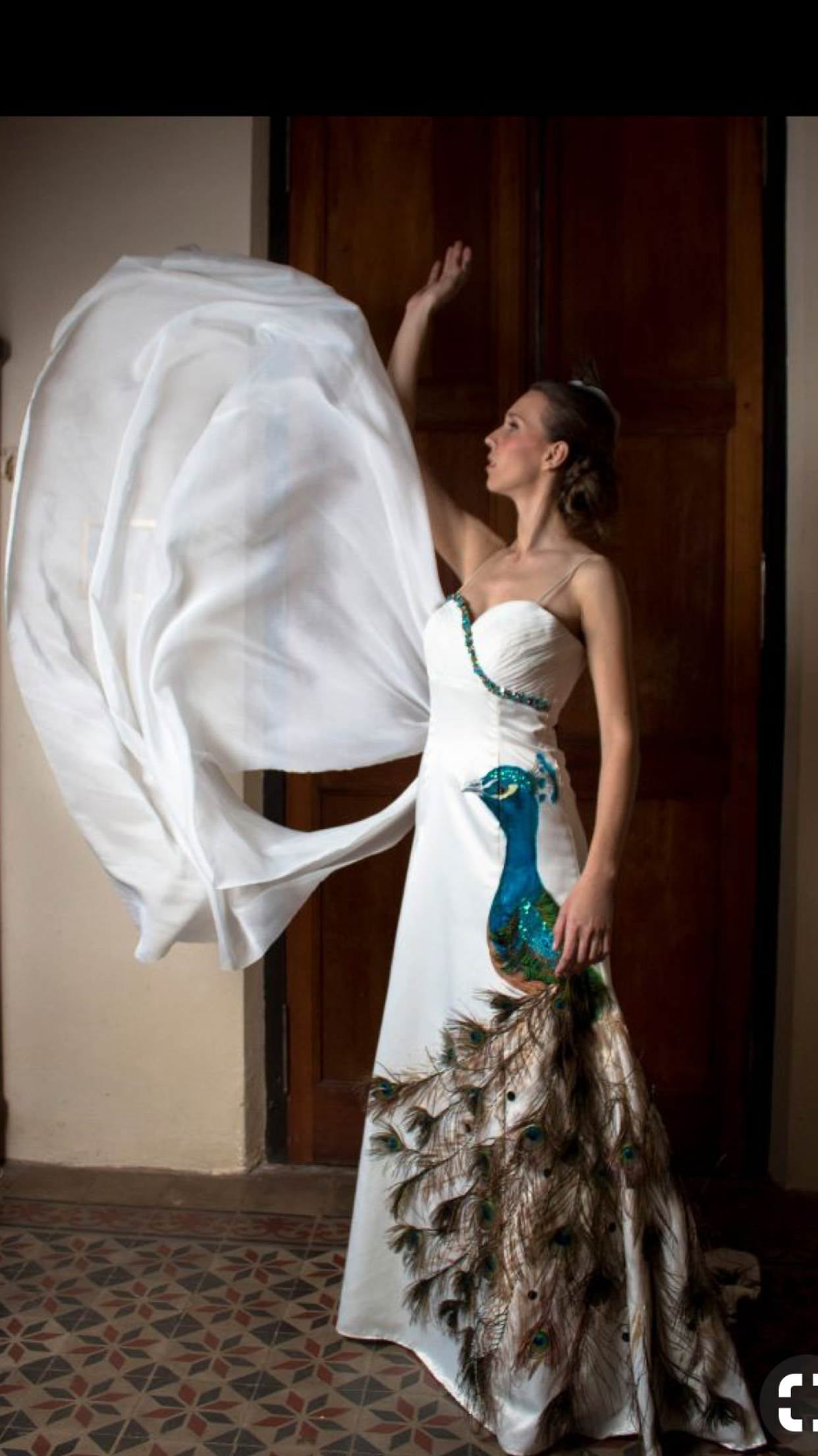 a757bf4e1 Vestido pintado a mano con apliques de pluma de pavo real