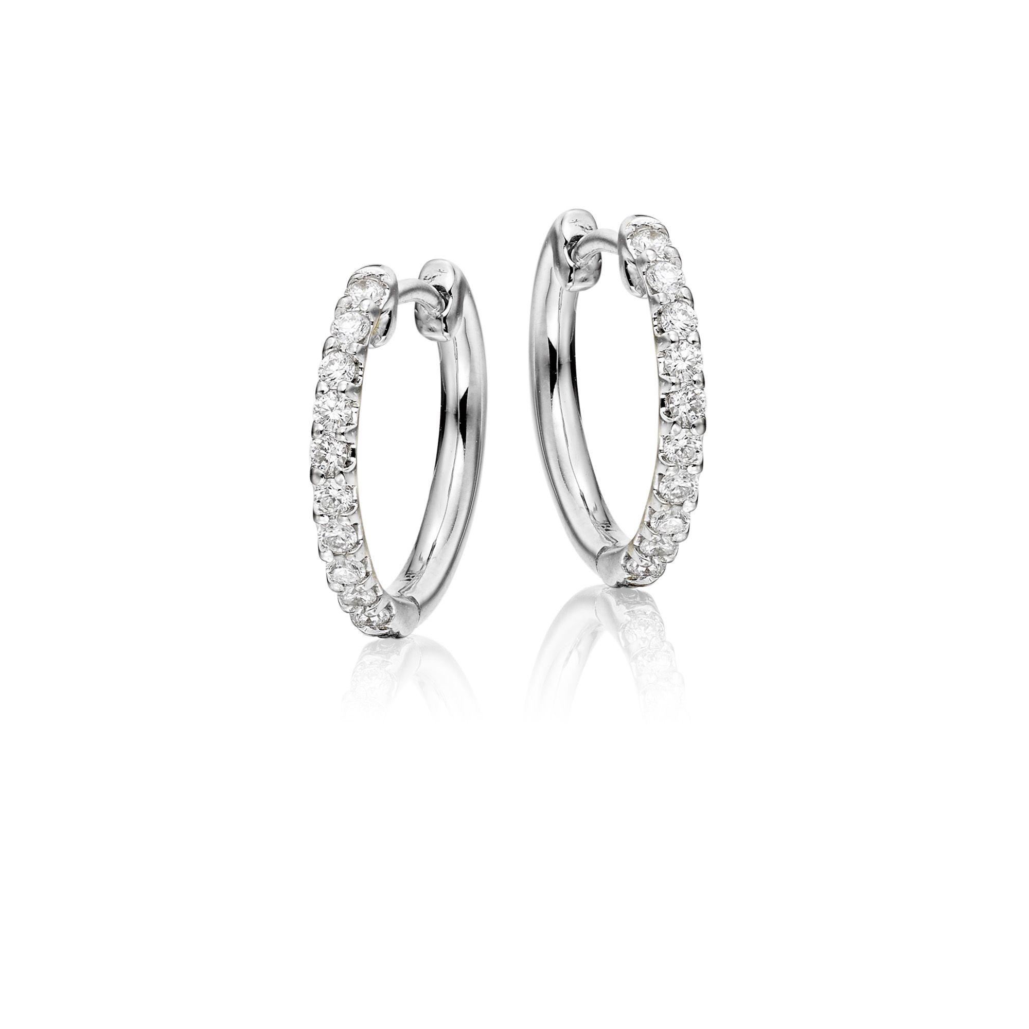 Single Diamond Hoop Earring Precious Jewelry Hoop Stud Earrings At