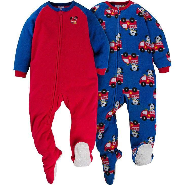 902670e7bfa6 2-Pack Boys Firetruck Toddler Blanket Sleepers