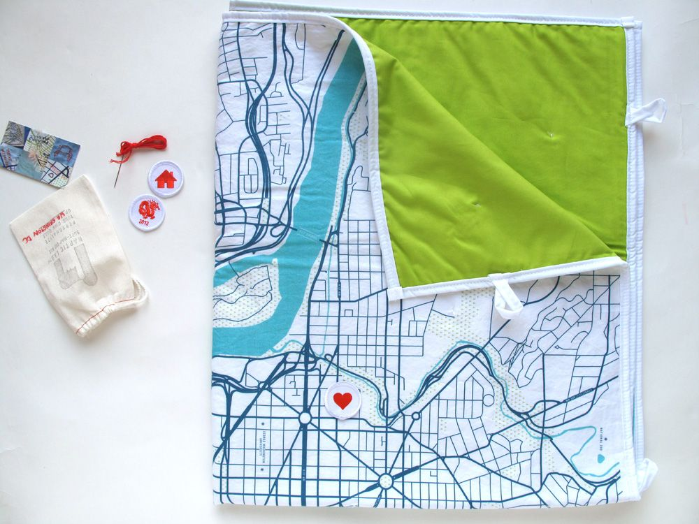 city map baby quilt