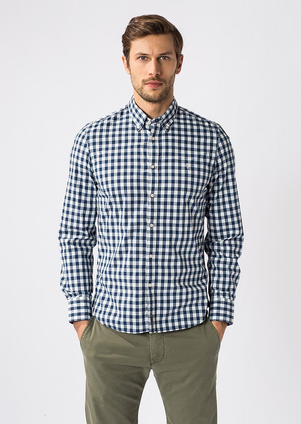 MARC O POLO. Klassisches Hemd aus einer dicht gewebten 100% Baumwollware  mit vollem, kompaktem Griff. Dezente Kontrastfarbe und das gleichmäßige  Vichy-Karo ... 474b79eccb