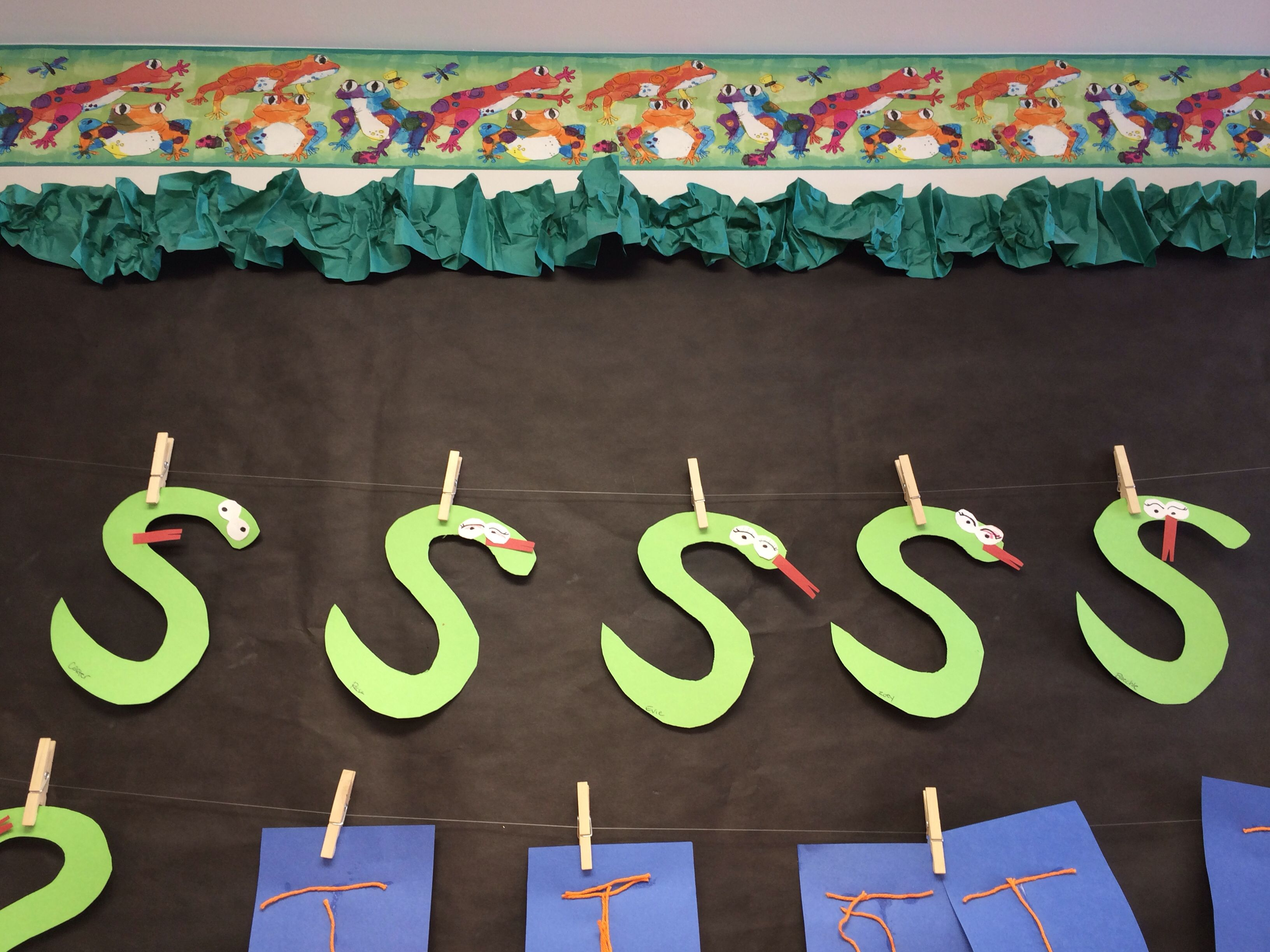 Make letters out of objects that start with that letter S is for snake