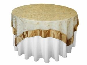 Gold Embroidered Table Overlays Pink Frosting