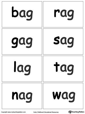 AG Word Family Flash Cards Word Family Worksheets Pinterest - flash cards words