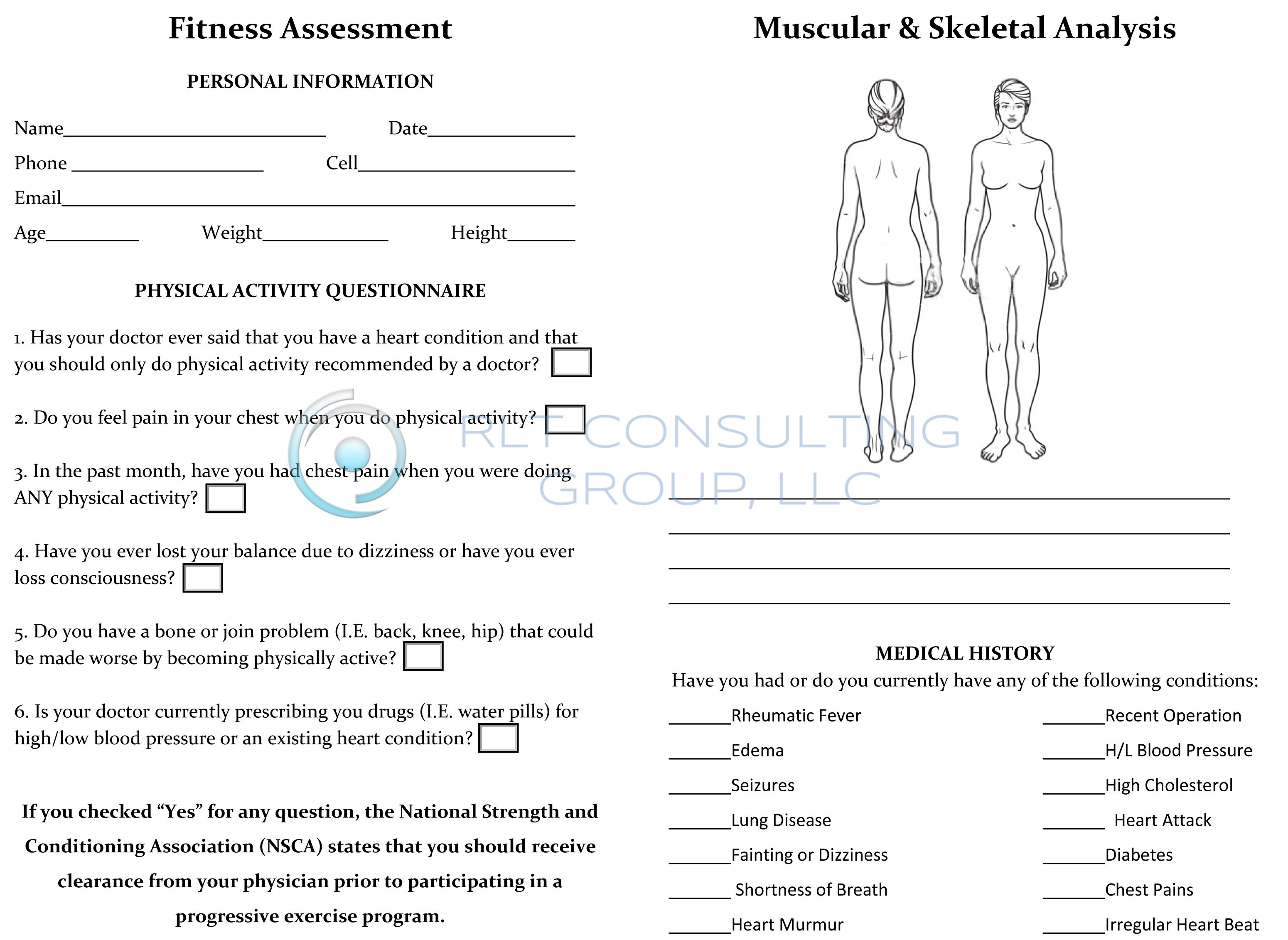 Fitness Assessment Form for Women back by RLT Consulting Group – Fitness Assessment Form