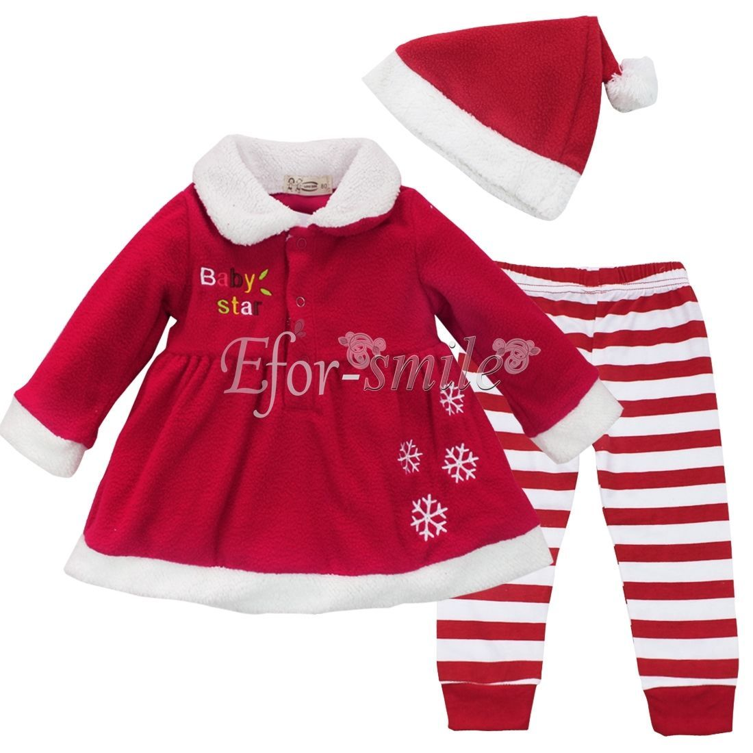 741d3dad1285e Toddler Baby Girls Christmas Claus Dress+Pants + Hat Outfit Costume Xmas  Clothes  ebay  Fashion