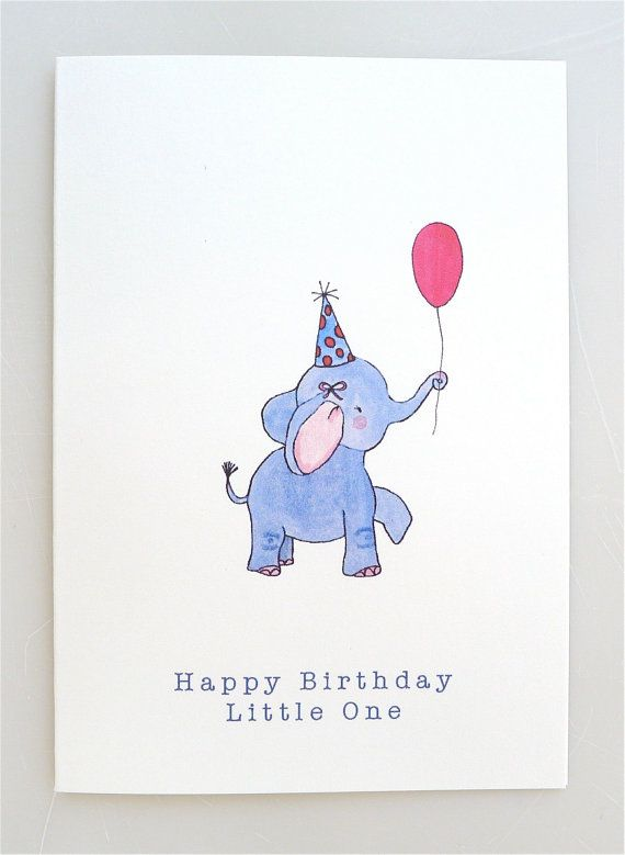 Elephant Birthday Card For Children Baby Elephant Balloon Etsy In 2021 Elephant Birthday Happy Birthday Kids First Birthday Cards