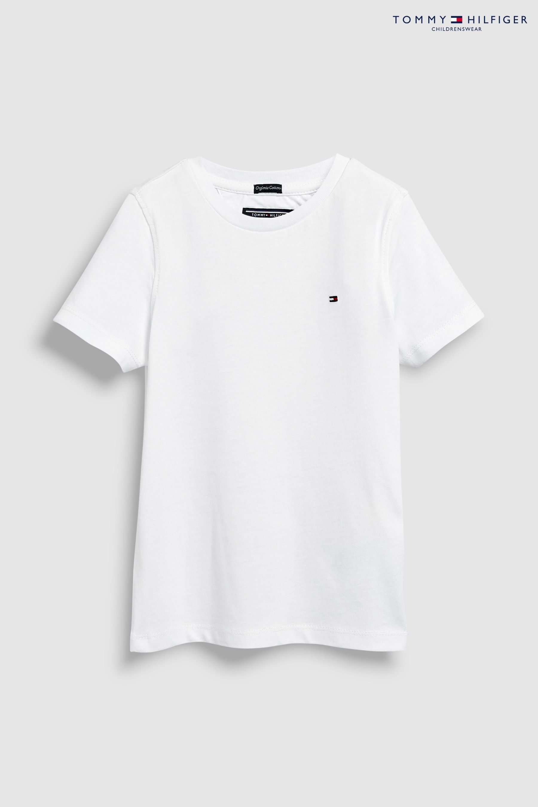 huge discount be1f8 78a92 Boys Tommy Hilfiger White Basic T-Shirt - White | tommy ...