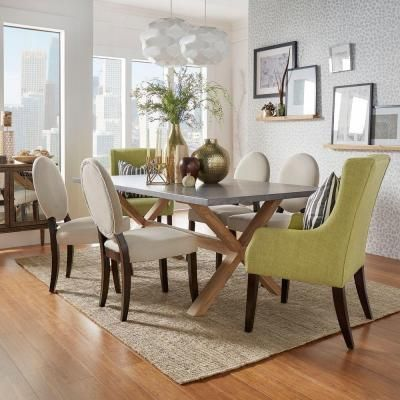 Zinc Topped Weathered Light Oak Dining Table $789