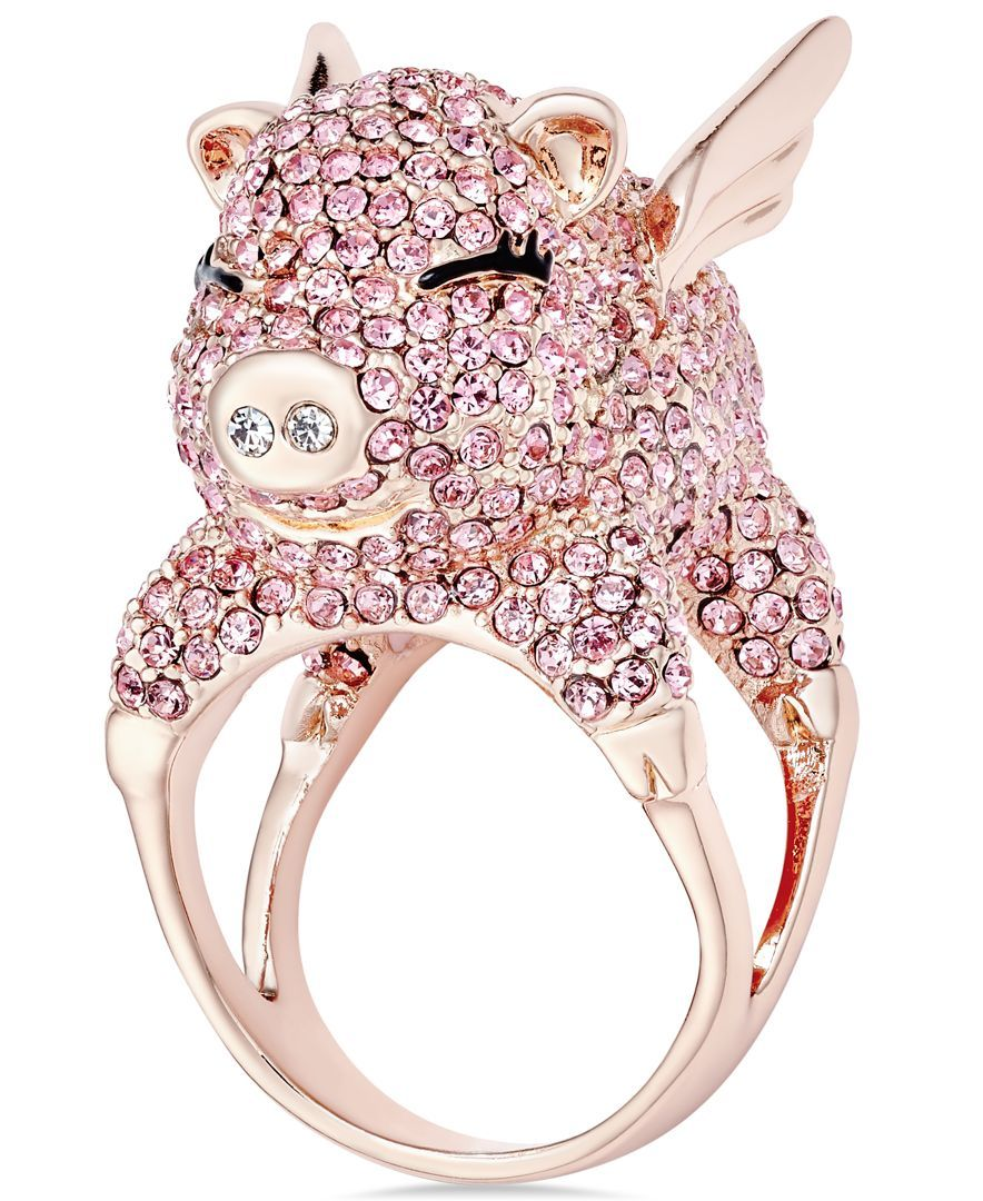 kate spade new york Wild Imagination Gold-Tone Crystal Flying Pig ...