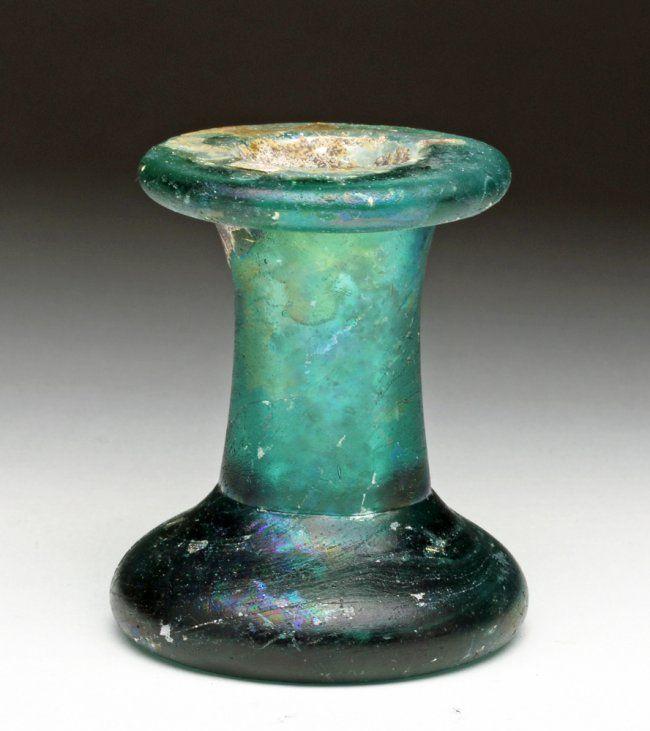 Gorgeous Heavy Green Spooled Roman Glass Jar : Lot 12Z