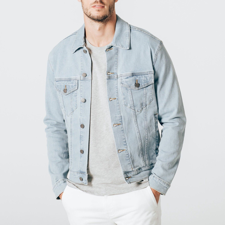 Dstld Mens Denim Jacket In Light Wash Xl Denim Jacket Men Mens Fashion Denim Light Wash Denim Jacket [ 1500 x 1500 Pixel ]