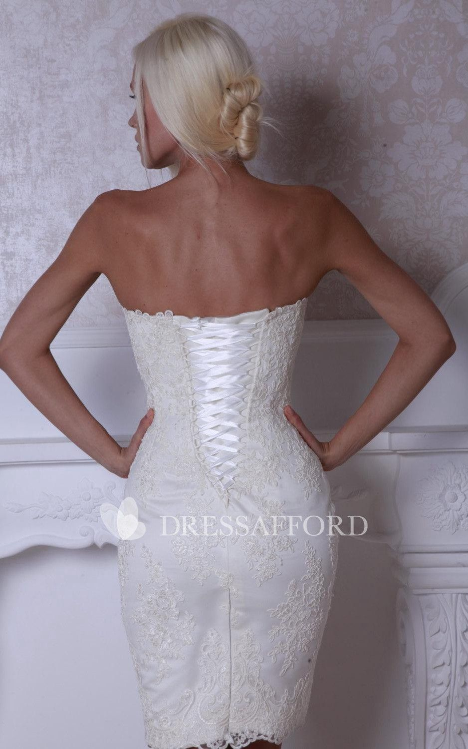 Lace Lace Up Back Fitted Short Bridal Dress Short Lace Wedding Dress Short Bridal Dress Mini Wedding Dresses