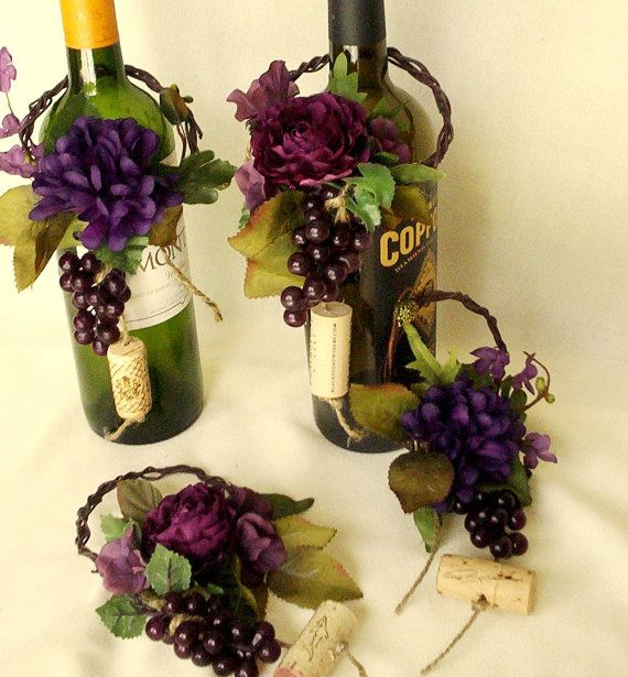 Wine bottle toppers wedding centerpieces 2 sets purple table decor wine theme wedding centerpieces wine bottle topper junglespirit Image collections