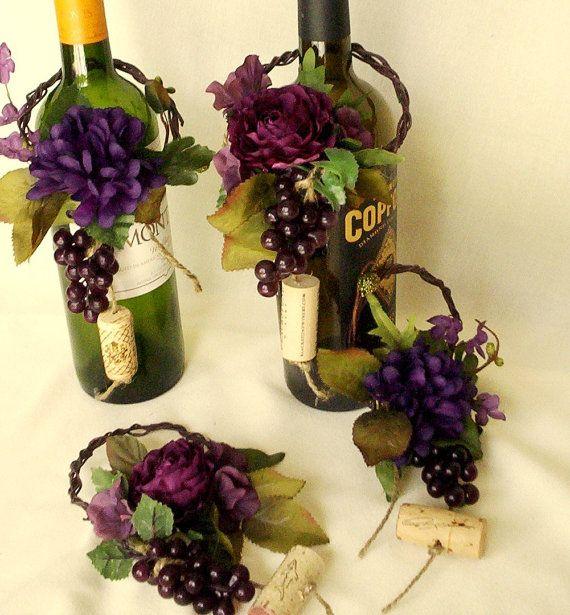 Wedding Centerpieces Wine Bottle Toppers Set of 4 por AmoreBride