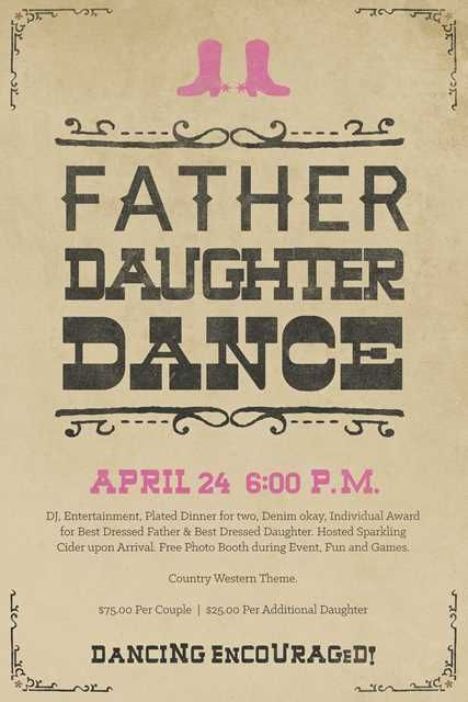 Father Daughter Dance flyer poster template from Oregon Golf Club - create a wanted poster free