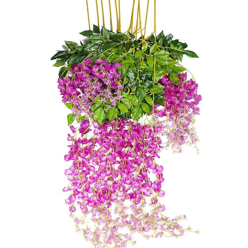 Sa wedding decor images  Amazon Mavee  Piece  Feet Artificial Silk Wisteria Vine