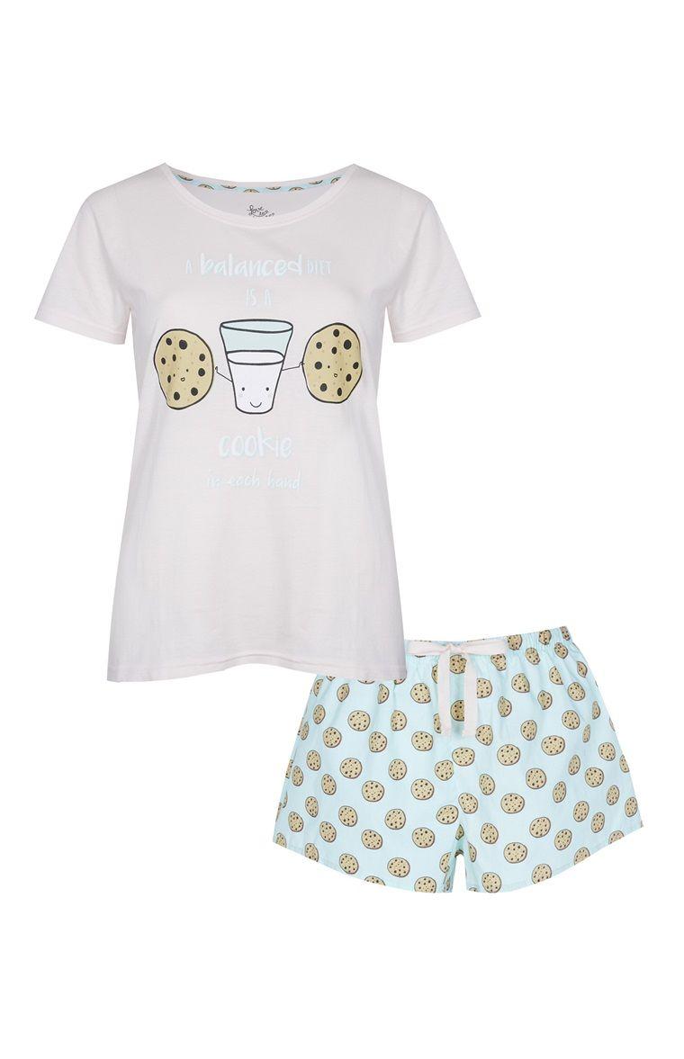 Primark - Pyjama short bleu à imprimé cookie  7da426778bb