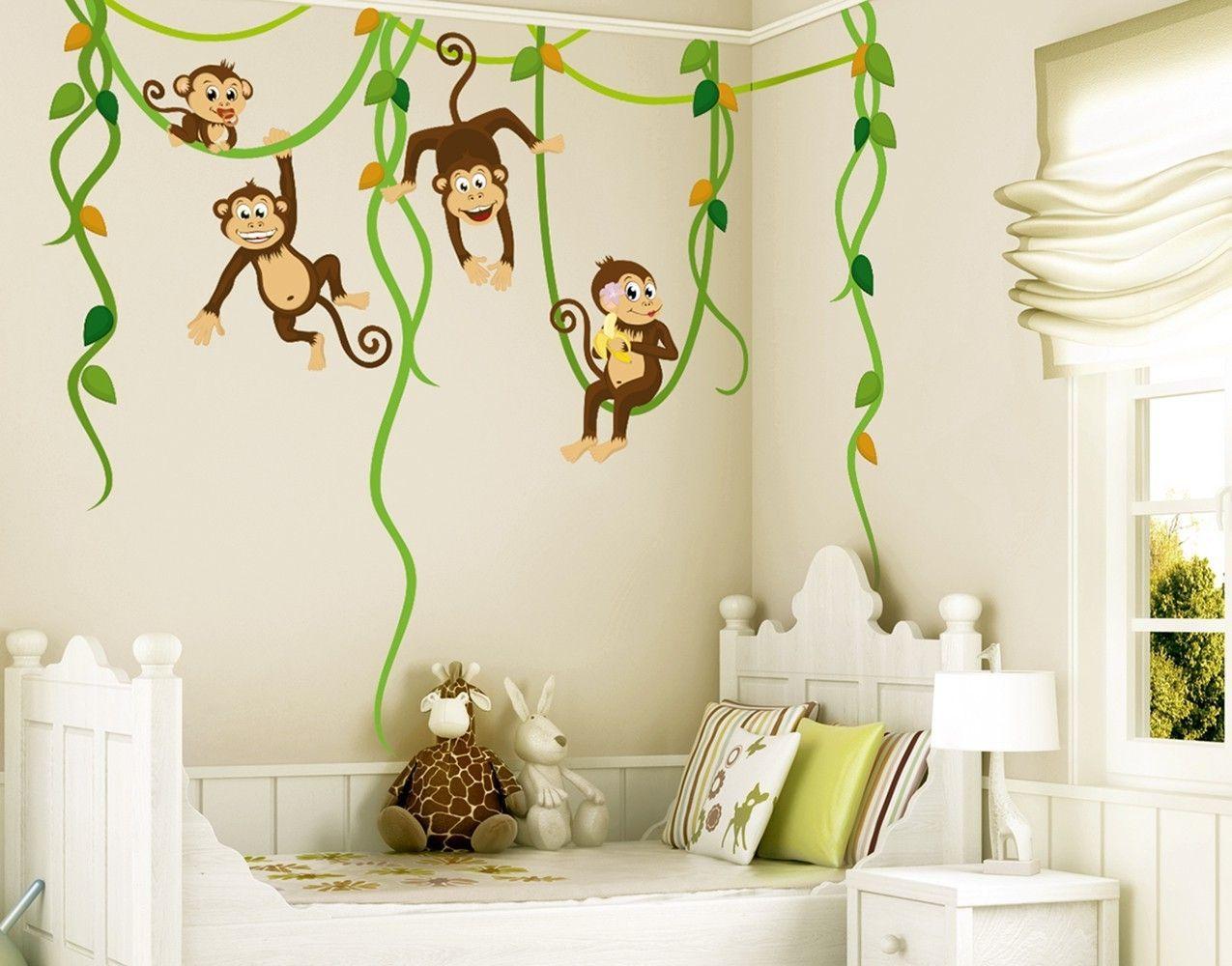 Wandtattoo Babyzimmer Affen Dschungel Safari No.YK28