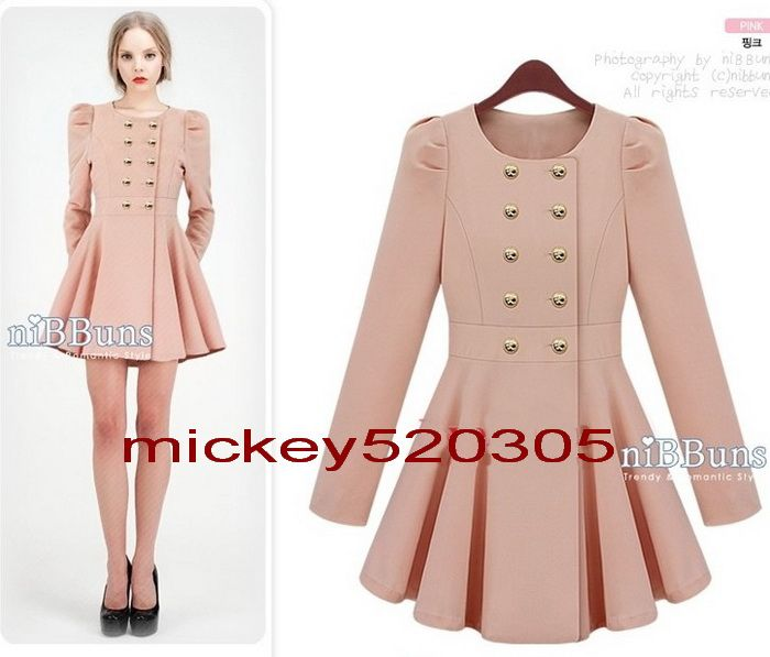 Women New Slim Puff Sleeve Skirt Trenchcoat/Double-breasted Jacket ...