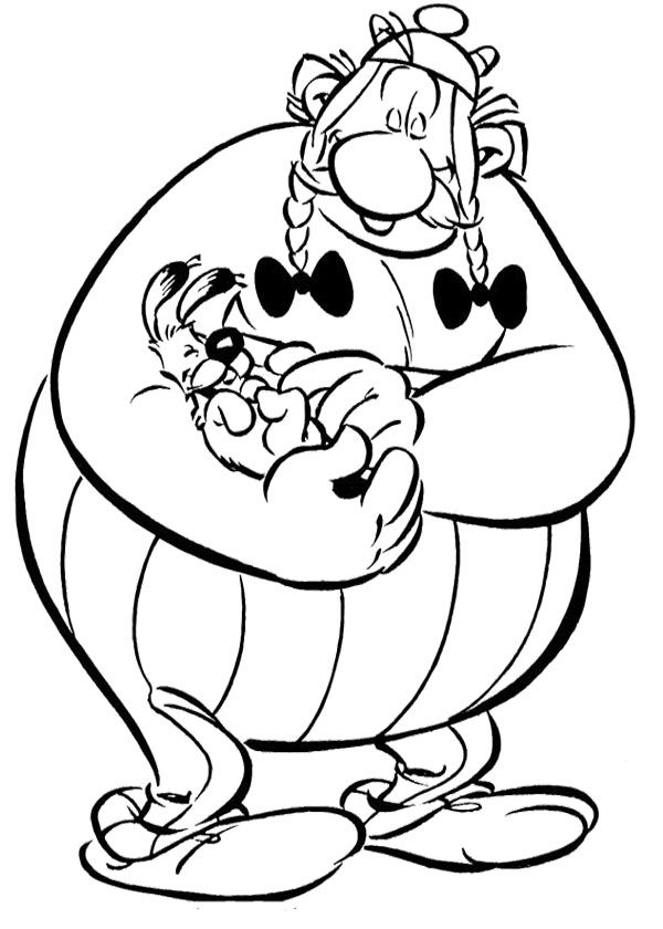 Kleurplaat Caitlin Obelix And Care With Dog Coloring Page Asterix Coloring